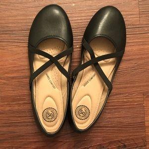 SO Black Ballet Flats, 9.5
